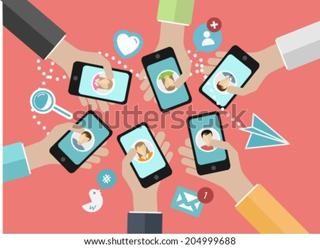 Digitally generated Hands holding their smartphones out connecting to social media - stock vector