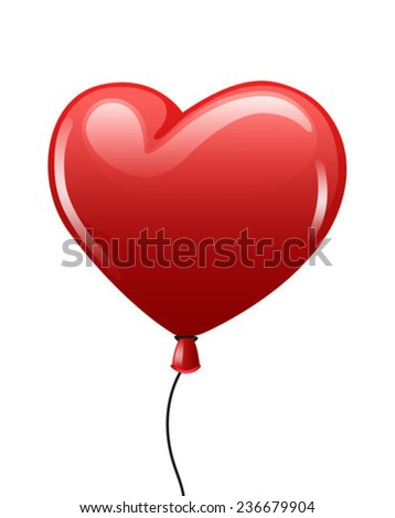 Digitally generated Red balloon heart on white