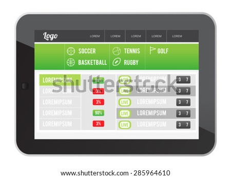 Digitally generated Sports app interface on tablet screen