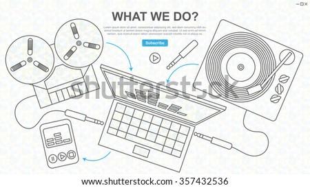 Digitization Sound Tape Vinyl Line Drawing Stock Photo (Photo ...