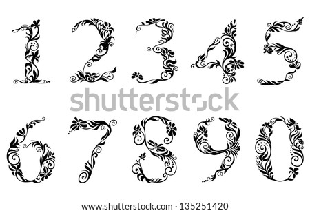 Digits and numbers with floral details in retro style. Jpeg version also available in gallery - stock vector
