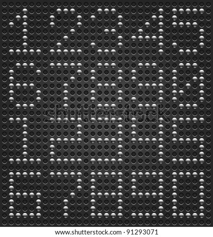 Digits digital font. Metal buttons on black dotted perforated texture background. Easy and quick editing. This file saved in a format 10 eps and contains graphic styles - stock vector