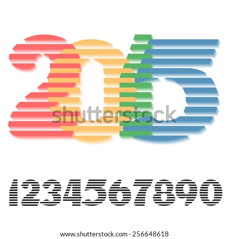 Digits set with an example of using for three-dimensional-writing the number of year - stock vector