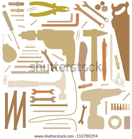 diiy tool - silhouette illustration - stock vector