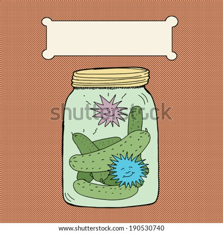 Dill pickle jar with blank advertising label - stock vector