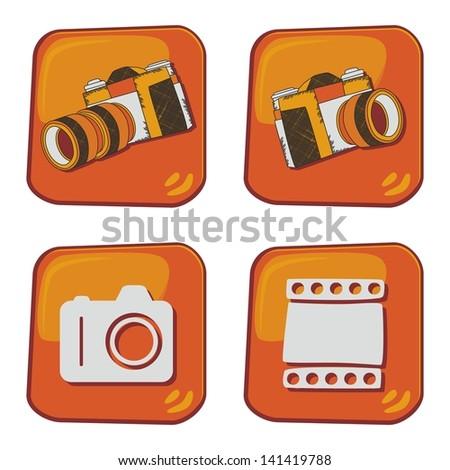 dimensional cartoon button photography - stock vector