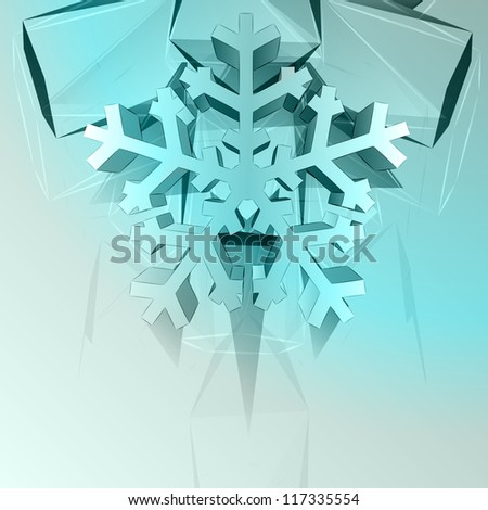 dimensional crystal blue shape card with snowflake vector template - stock vector