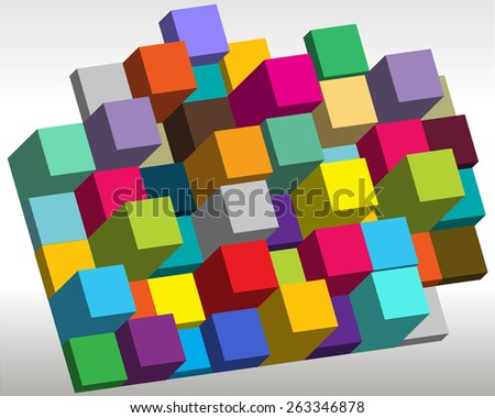 dimensional cubes - stock vector