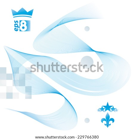 Dimensional flowing stripy ribbon, dreamy futuristic background with royal elements, stars and crown, eps8 design vector illustration. - stock vector