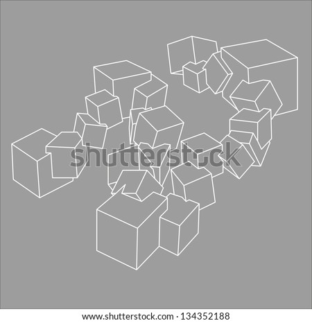 dimensional geometric shapes - stock vector