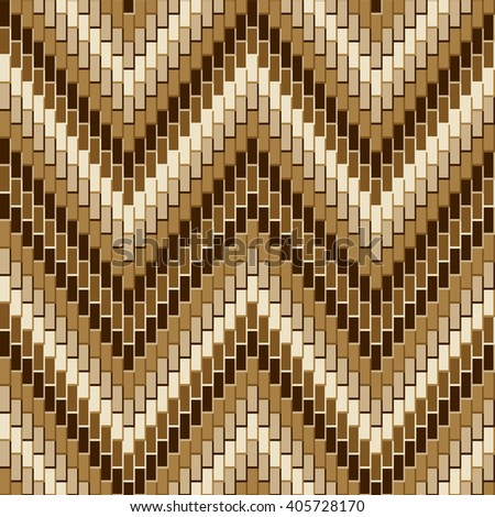 Dimensional Herringbone pattern in neutral colors repeats seamlessly. Vector: Colors are grouped for easy editing. Pattern is in Swatches Panel.