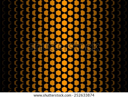 Dimensional hexagonal cells. Vector abstract geometric gradient pattern. Cell size decreases equally from the center to the edge. Orange and black background. - stock vector