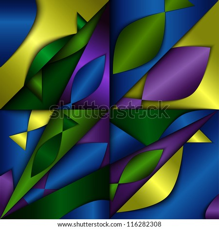Dimentional abstract background, composition with fish silhouettes - stock vector