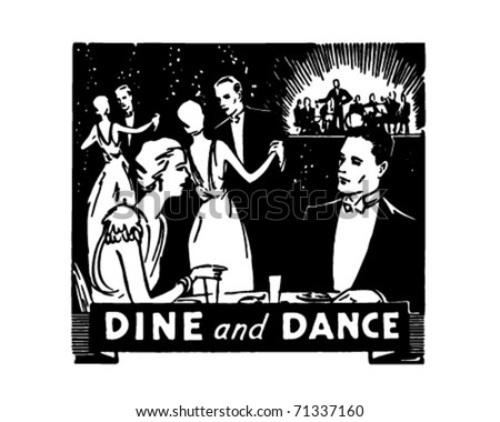 Dine And Dance - Retro Ad Art Banner