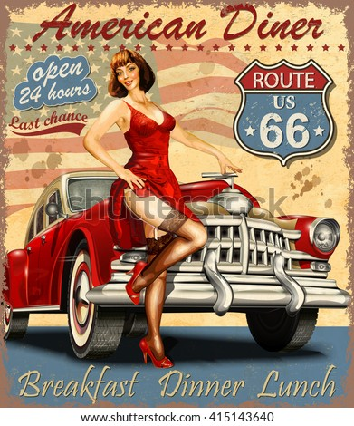 Diner route 66 vintage poster - stock vector