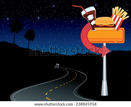 Diner Sign in Desert - stock vector