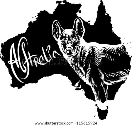 Dingo on map of Australia. Black and white vector illustration. - stock vector