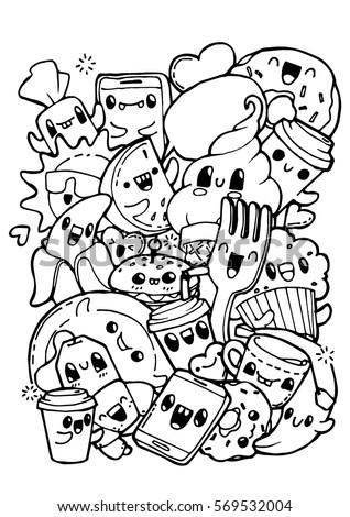 dining doodles breakfast lunch dinner food coloring pages for kids - Breakfast Coloring Pages