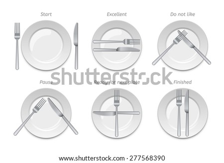 Dining etiquette, forks and knifes signals - stock vector