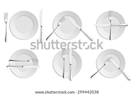 Dining etiquette, forks and knifes signals. Vector EPS10 illustration.  - stock vector