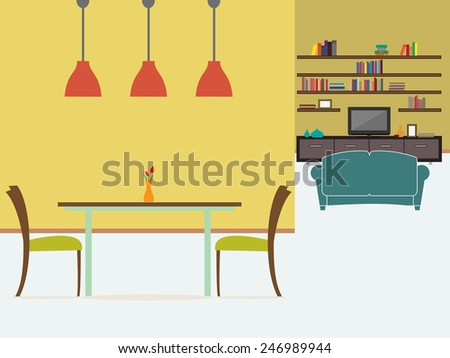 Dining room and living room interior - stock vector