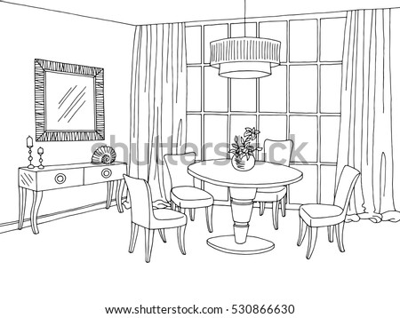 Dining room stock vectors images vector art shutterstock for Salle a manger a colorier