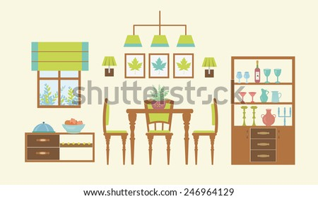 Dining room interior template typical furniture stock for Furniture templates for room design