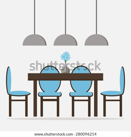 Dining Room Isolated Icon Dining Table With Chairs And Decoration