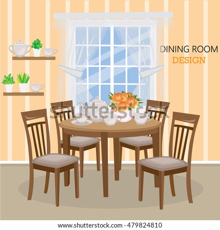 Dining Room With A Big Window Vase Roses And Tea Set Flat Style