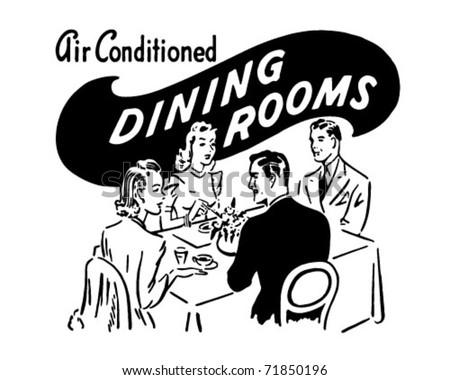 Dining Rooms - Retro Ad Art Banner - stock vector