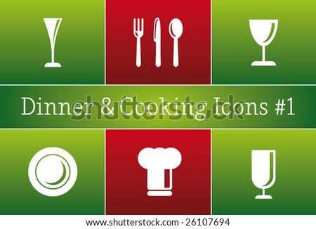 Dinner & Cooking Restaurant Vector Icon Set #1 - a set of vector Restaurant Icons