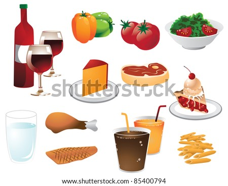 Dinner elements A group of different foods and drinks for dinner.  EPS 8 vector with no open shapes, strokes or transparencies. - stock vector