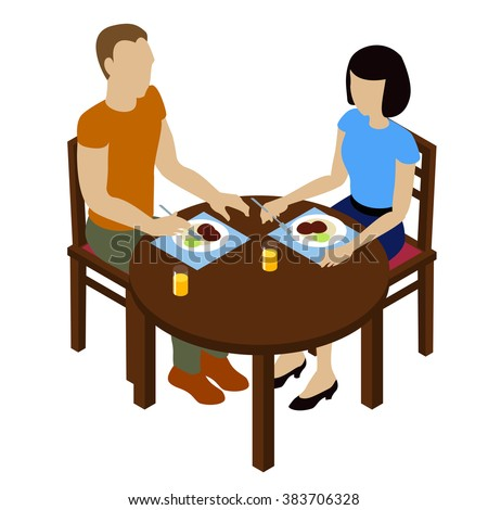 Dinner of the couple of two young people. Man and woman eats dinner. Isometric cafe element. Isometric table.isometric people - stock vector
