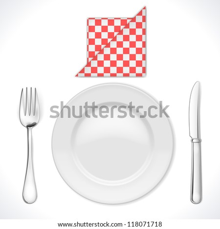 Dinner place setting isolated on white. Vector Illustration - stock vector