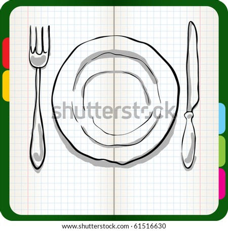 dinner plate, knife and fork - stock vector