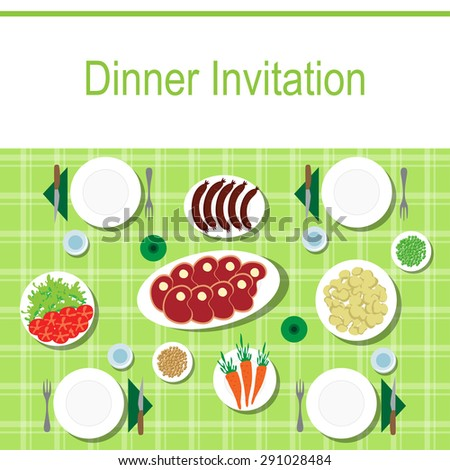 Dinner table from top with food and empty plates - stock vector