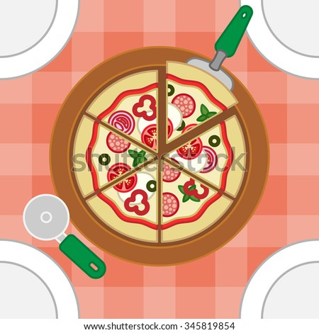 Dinner table with plates and tasty pizza in the centre - stock vector
