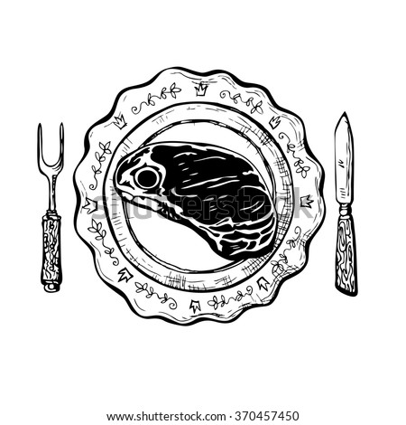 Dinner with steak. Vintage black and white ink drawing vector illustration with plate, knife, fork and grilled piece of meat. Contrast sketch for food card and menu. Vector is EPS8. - stock vector