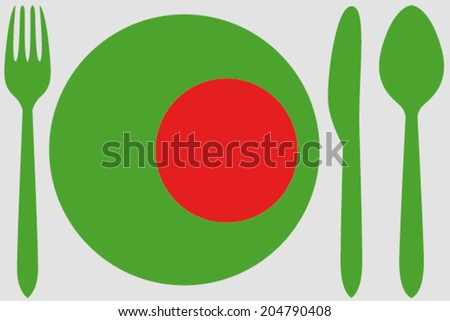 Dinnerware with the flag of Bangladesh - stock vector