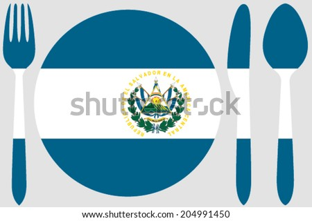 Dinnerware with the flag of El Salvador - stock vector