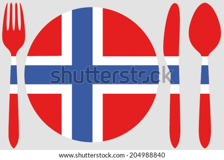 Dinnerware with the flag of Norway
