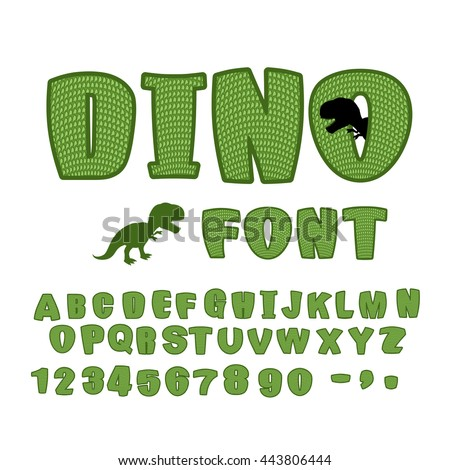 Dino font. dinosaur ABC. Texture animal of Jurassic period. Tyrannosaurus alphabet. Green Monster letters