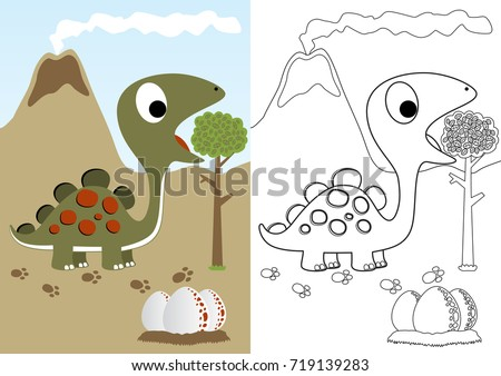 Dino Herbivore Eggs Vector Cartoon Coloring Stock Vector HD (Royalty ...