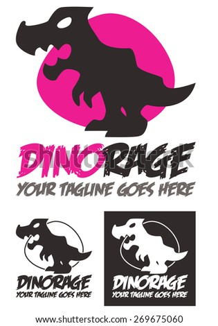 Dino Rage is a template logo depicting a fierce and terrible dinosaur with modern shapes and cartoon style. Available in color, black and white. - stock vector