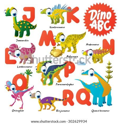 Dinosaur ABC, J to R - stock vector