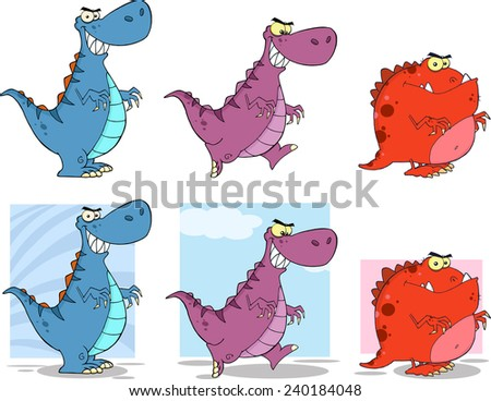 Dinosaur Cartoon Characters 2. Vector Collection Set - stock vector