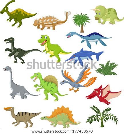Dinosaur cartoon collection set - stock vector