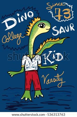 Dinosaur Cartoon Kid Varsity Collegetshirt Print Stock Vector HD ...