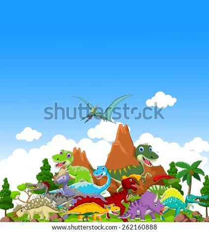 Dinosaur cartoon with landscape background  - stock vector