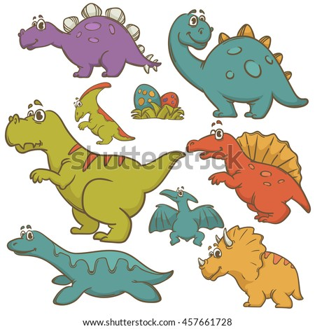 Dinosaur collection set. Dinosaurs cute monster animal and prehistoric. Cartoon style. Vector Illustration. - stock vector